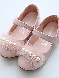 cheap -Girls' Flats Flower Girl Shoes Microfiber Wedding Casual / Daily Dress Shoes Toddler(9m-4ys) Little Kids(4-7ys) Wedding Party Party & Evening Pearl Pink Ivory Fall Spring