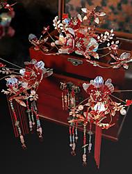 cheap -1 Piece Bride Red Artificial Flower Liquid Headdress Chinese Ancient Costume Xiuhe Apparel Retro Court Wedding Wedding Accessories