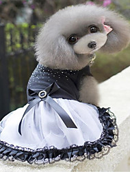 cheap -Spring and summer new dog clothes skirt pet products black diamond skirt
