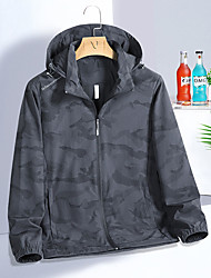 cheap -Men's Jacket Trench Coat Street Daily Going out Fall Spring Regular Coat Zipper Hoodie Regular Fit Warm Breathable Sporty Casual Jacket Long Sleeve Camo / Camouflage Full Zip Pocket Lake blue Gray