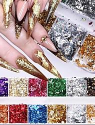 cheap -3Box Gold Silber Grn Nail art Folie Papier Bunte Unregelmigen Aluminium Nagel Aufkleber Glitter Gel Polnischen Dekoration