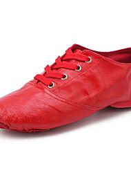 cheap -Women's Jazz Shoes Dance Shoes Flat Flat Heel Camel Red White