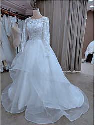 cheap -A-Line Wedding Dresses Jewel Neck Court Train Lace Tulle Long Sleeve Formal Romantic Luxurious with Appliques Cascading Ruffles 2021