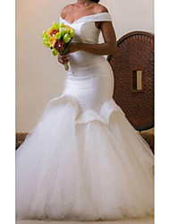 cheap -Mermaid / Trumpet Wedding Dresses Off Shoulder Court Train Satin Tulle Sleeveless Formal Sexy Luxurious Plus Size with Beading 2021