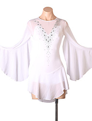 cheap -Figure Skating Dress Women's Girls' Ice Skating Dress White Open Back Patchwork High Elasticity Training Competition Skating Wear Solid Colored Classic Crystal / Rhinestone Long Sleeve Ice Skating