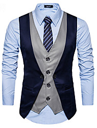 cheap -Men's Vest Business Daily Fall Winter Regular Coat Single Breasted One-button V Neck Regular Fit Thermal Warm Windproof Warm Business Streetwear Jacket Sleeveless Color Block Patchwork Gray Black Red