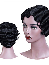 cheap -halloweencostumes Roaring 20S Wig Short Finger Wave Synthetic Wig for African American Women Afro Kinky Curly Wigs Black Purple Blonde Heat Resistant Hair