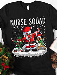 cheap -Women's Plus Size Tops Blouse T shirt Anime Print Short Sleeve Crewneck Festival Christmas Christmas Weekend Microfiber Fall Summer Contact customer service for more colors Black
