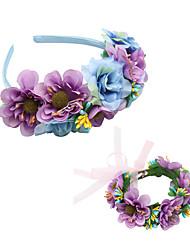 cheap -1 Piece Children's Headdress Flower Girl Beautiful Bridesmaid Wreath Set Dress Accessories Simulation Flower Headband Bracelet Set