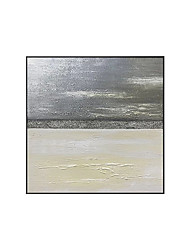 cheap -Oil Painting Handmade Hand Painted Wall Art Square Modern Gray and Golden Abstract Home Decoration Decor Rolled Canvas No Frame Unstretched