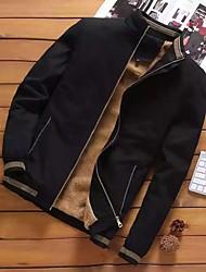 cheap -Men's Jacket Street Daily Going out Fall Regular Coat Zipper Stand Collar Regular Fit Breathable Sporty Casual Jacket Long Sleeve Plain Full Zip Pocket Blue Yellow Khaki / Outdoor