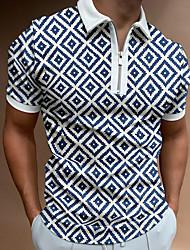 cheap -Men's Golf Shirt Argyle Zipper Short Sleeve Street Regular Fit Tops Casual Fashion Comfortable Blue / White / Summer
