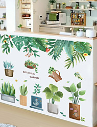 cheap -small fresh tropical green plant potted succulent leaf bedroom porch home decoration wall sticker self-adhesive