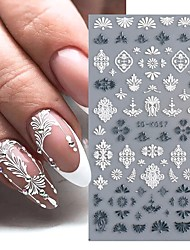 cheap -3 pcs White Engraved Flower Lace 5D Stickers for Nails Embossed Rose Decal Slider Gel Polish Manicure Nail Art Decoration Decor