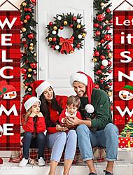 cheap -Christmas Couplet Door Plaid Flag Hanging Cloth Christmas Decorations