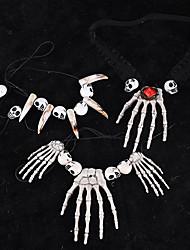 cheap -2pcs Halloween Decorations Skull Hand Skeleton Necklace Alternative Creative Ball Bar Props T-Shirt Pendant