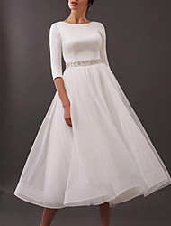 cheap -A-Line Wedding Dresses Jewel Neck Tea Length Satin Tulle Half Sleeve Simple Vintage Little White Dress 1950s with Sashes / Ribbons 2021