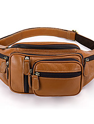 cheap -Men's Bags Nappa Leather Cowhide Fanny Pack Zipper Daily Bum Bag Messenger Bag Blue Black Brown Coffee