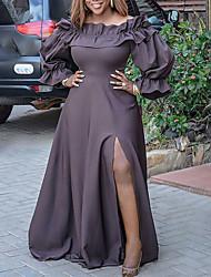 cheap -Women's Plus Size Dress Swing Dress Maxi long Dress Long Sleeve Solid Color Split Off Shoulder Party Fall Winter Spring Brown L XL XXL 3XL