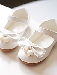cheap -Girls' Flats Flower Girl Shoes Patent Leather Wedding Dress Shoes Little Kids(4-7ys) Wedding Party Party & Evening Bowknot Pearl Light Pink White Fall Spring