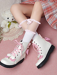 cheap -Women's Lolita Shoes Flat Heel Round Toe Booties Ankle Boots Party Wedding PU Bowknot Ribbon Tie Color Block White Black Brown / Booties / Ankle Boots