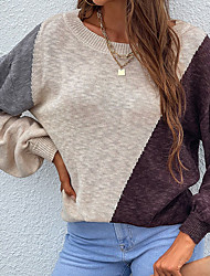 cheap -Women's Pullover Sweater Knitted Color Block Stylish Long Sleeve Regular Fit Sweater Cardigans Crew Neck Fall Winter Blushing Pink Gray Khaki