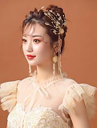 cheap -Bridal Headgear Alloy Rhinestone Headband Golden Super Fairy Beaded Forest Crown Wedding Jewelry Wedding Accessories