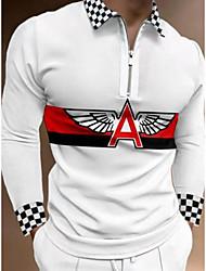 cheap -Men's Golf Shirt Color Block Zipper Long Sleeve Street Regular Fit Tops Casual Fashion Comfortable White