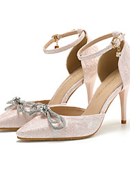 cheap -Women's Heels Stiletto Heel Pointed Toe Wedding Daily Lace Rhinestone Bowknot Solid Colored Almond Pink White