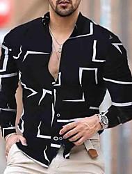 cheap -Men's Shirt Other Prints Geometry Print Long Sleeve Street Tops Business Casual Fashion Slim Fit White Black Navy Blue
