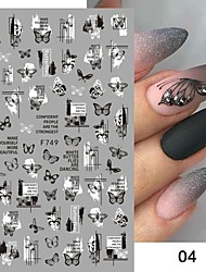 cheap -4 Pcs Black White Butterfly 3D Nails Sticker Geometry Decals Flower Gold DIY Decals Designs For Nail Art Manicures Decorations Salon