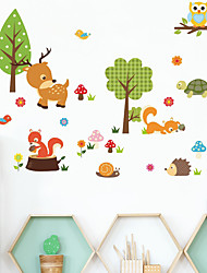 cheap -Cute Animals Wall Stickers Living Room Kids Room Kindergarten Removable Pre-pasted PVC Home Decoration Wall Decal 1pc