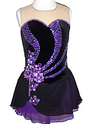 cheap -Figure Skating Dress Women's Girls' Ice Skating Dress Purple Flower Patchwork Spandex High Elasticity Competition Skating Wear Crystal / Rhinestone Sleeveless Ice Skating Figure Skating / Kids