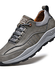 cheap -Men's Trainers Athletic Shoes Lace up Sporty Look Leather Shoes Sporty Casual Vintage Daily Outdoor Hiking Shoes Leather Warm Non-slipping Height-increasing Gray Brown Color Block Fall Winter