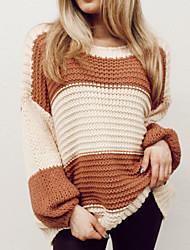 cheap -Women's Sweater Knitted Color Block Stylish Long Sleeve Sweater Cardigans Crew Neck Fall Winter Khaki
