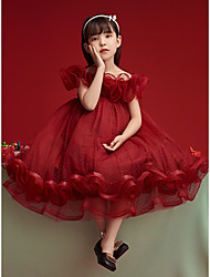 cheap -Princess Ankle Length Flower Girl Dresses Party Tulle Short Sleeve Off Shoulder with Cascading Ruffles