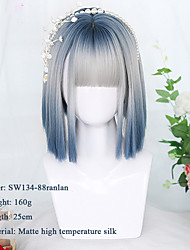 cheap -Synthetic Short Bob Color Lolita Anime Wigs With Air bangs for Women Natural Fake Hair Black Blue Lolite Cosplay Wig
