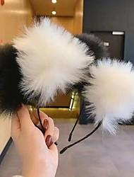cheap -2 Pieces/set Japanese And Korean Plush Cat Ears Headband Wind Sweet Cos Fox Ear Headdress Girl Cat Hairpin