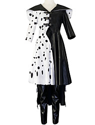 cheap -One Hundred and One Dalmatians Cruella De Vil Outfits Women's Movie Cosplay Halloween Black Coat Pants Gloves Halloween Carnival Masquerade Polyester / Cotton