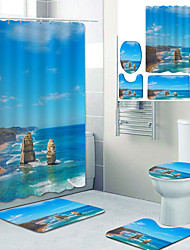 cheap -Beautiful Beach Printed Bathroom Home Decoration Bathroom Shower Curtain Lining Waterproof Shower Curtain With 12 Hooks Floor Mats and Four-Piece Toilet Mats.