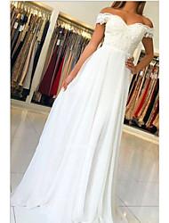 cheap -A-Line Wedding Dresses Off Shoulder Sweep / Brush Train Chiffon Lace Cap Sleeve Beach with Pleats Appliques 2021