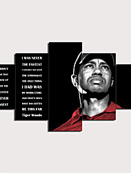 cheap -5 Panels Wall Art Canvas Prints Painting Artwork Picture Tiger Woods Quotes Painting Home Decoration Decor Rolled Canvas No Frame Unframed Unstretched