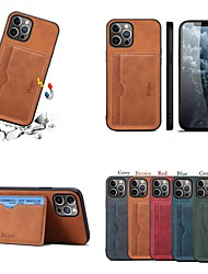cheap -Phone Case For Apple Back Cover iPhone 13 12 Pro Max 11 SE 2020 X XR XS Max 8 7 6 Card Holder Shockproof Dustproof Solid Colored PU Leather