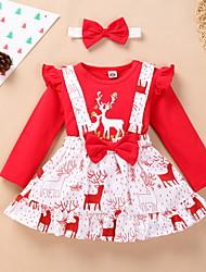 cheap -3 Pieces Baby Girls' Christmas Dress Active Christmas Festival Cotton Red Deer Polka Dot Animal Bow Print Long Sleeve Knee-length / Fall