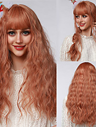cheap -Synthetic Wig Long Loose Wavy Orange Yellow Wigs with Bangs for Women Cosplay Party Lolita Wig Heat Resistant