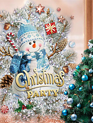 cheap -Christmas Tree Snowman Creative Decorative Wall Stickers Glass Window Background Wall Simple Wall Stickers 30*40cm