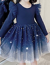 cheap -Kids Little Girls' Dress Galaxy Solid Colored A Line Dress Casual Daily Ruffle Mesh Lace Dusty Blue Midi Sleeveless Princess Cute Dresses Summer Regular Fit 2-8 Years