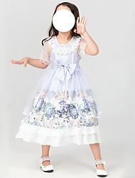 cheap -Lolita Princess Lolita Lolita Cute Dress Cosplay Costume Girls' Japanese Cosplay Costumes Purple Print Short Sleeve Midi / Kid's