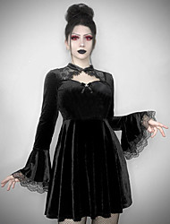 cheap -A-Line Gothic Vintage Halloween Party Wear Dress Jewel Neck Long Sleeve Short / Mini Spandex with Bow(s) Lace Insert 2021