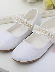 cheap -Girls' Flats Flower Girl Shoes Lace Breathable Mesh Breathability Wedding Cute Dress Shoes Toddler(9m-4ys) Little Kids(4-7ys) Wedding Party Party & Evening Pearl Stitching Lace Pink White Fall Spring